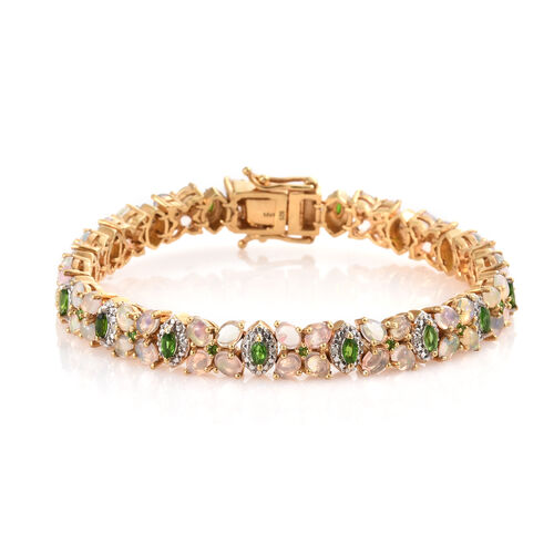 Ethiopian Welo Opal (Ovl), Russian Diopside and Diamond Bracelet (Size 7.5) in 14K Gold Overlay Ster