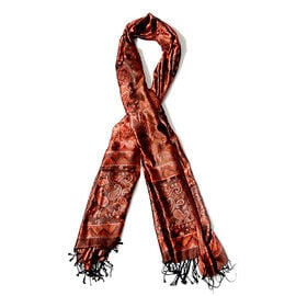 100% Superfine Silk Red and Black Colour Paisley Pattern Jacquard Jamawar Scarf with Fringes (Size 1