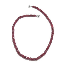 300 Ct Ruby Beaded Necklace in Rhodium Plated Sterling Silver 20 Inch