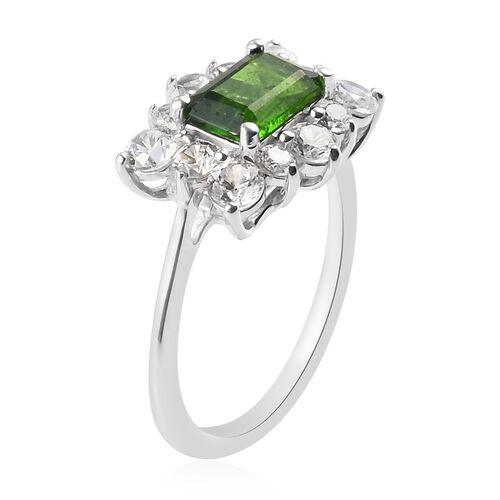 Russian Diopside and Natural Cambodian Zircon Ring in Platinum Overlay Sterling Silver 2.32 Ct.