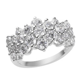 Super Find - J Francis Platinum Overlay Sterling Silver Cluster Band Ring Made with SWAROVSKI ZIRCONIA 4.05 Ct.