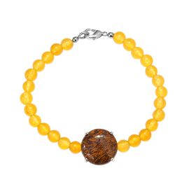 61.75 Ct Script Stone and Yellow Agate Beaded Stretchable Bracelet in Platinum Plated 7.5 Inch