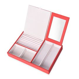 Jewellery Box with Extendable Large Mirror, 7 Ring Rows and 4 Sections with Inside Velvet Lining (Si