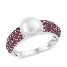 Fresh Water Pearl (Rnd), African Ruby Ring in Platinum Overlay Sterling Silver