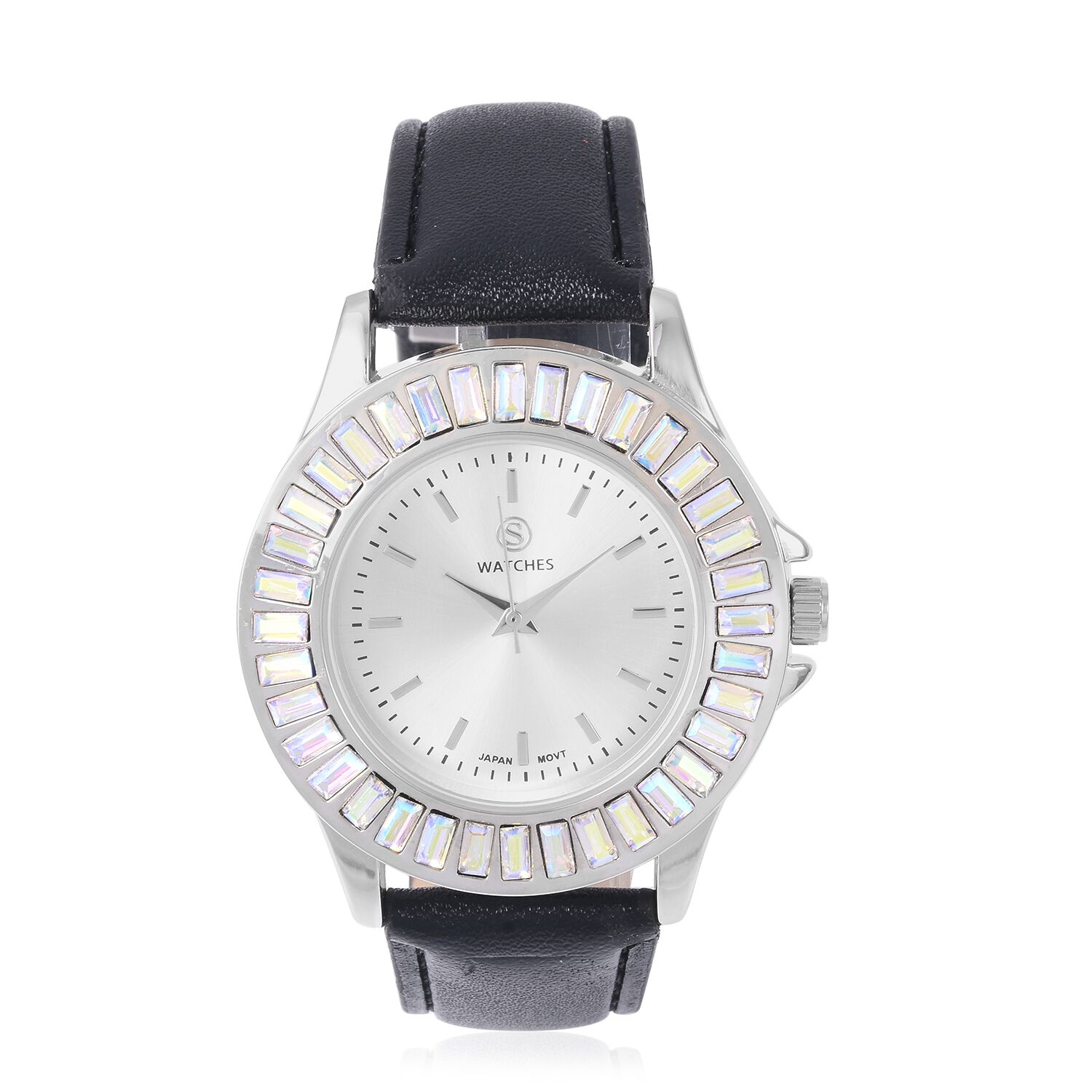 2 Piece Set STRADA Japanese Movement Water Resistant Simulated Mercury Mystic Topaz Studded Watch with Black Strap and Necklace Size 24 3297469
