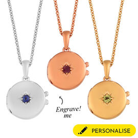 Personalised Engraved Name and Birthstone Round Locket with Chain in Silver