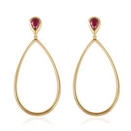 LucyQ - Open Drip Collection - African Ruby (Pear) Teardrop Dangle Earrings (with Push Back) in Yell