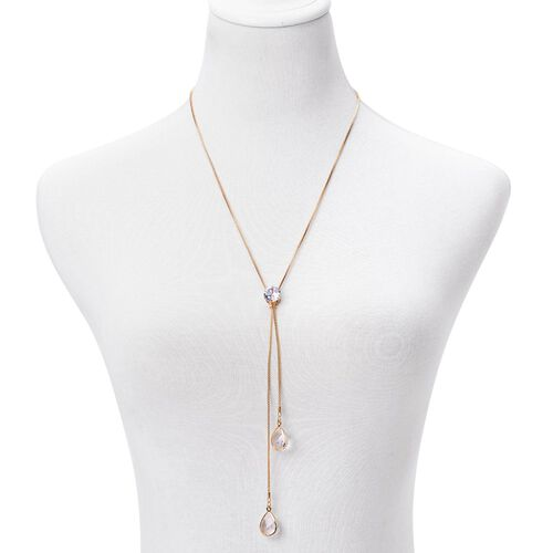 Simulated Diamond (Rnd) Necklace (Size 24) in Yellow Gold Plated