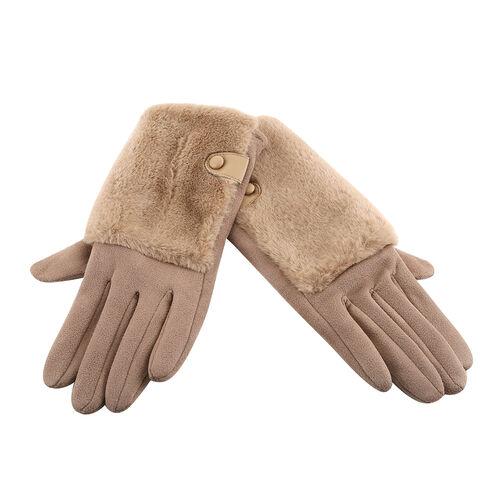 Faux Fur Trim Gloves (Size 9x23cm) - Khaki