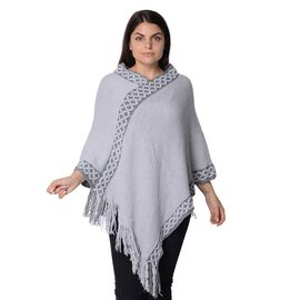 Knit Flower Pattern Bordure Poncho with Tassels (Size 84x102+13 Cm) - Grey