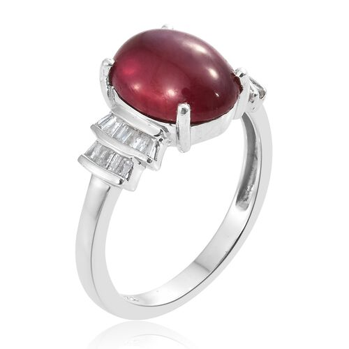 Collectors Edition- Designer Inspired- African Ruby (Ovl 11x9 mm 4.60 Ct), Diamond Ring in Platinum Overlay Sterling Silver 4.750 Ct.