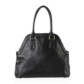 100% Genuine Leather Shoulder Bag with Zipper Closure (Size 35x29x12 Cm) - Black