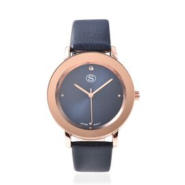 STRADA Japanese Movement Water Resistance Watch in Rose Tone with Navy Blue Strap