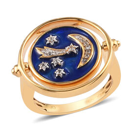 GP Natural Cambodian Zircon and Blue Sapphire Celestial Theme Enamelled Ring in 14K Gold Overlay Ste
