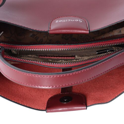 SENCILLEZ 100% Genuine Leather Cherry Colour Satchel Bag with Removable Shoulder Strap (Size 27x19x10 Cm)