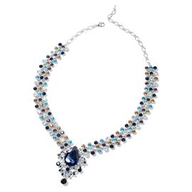 Simulated Blue Sapphire (Pear 29x20 mm), Multi Colour Austrian Crystal Necklace (Size 19) in Silver Tone