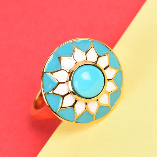 Arizona Sleeping Beauty Turquoise Enamelled Floral Ring in 14K Gold Overlay Sterling Silver 1.25 Ct.