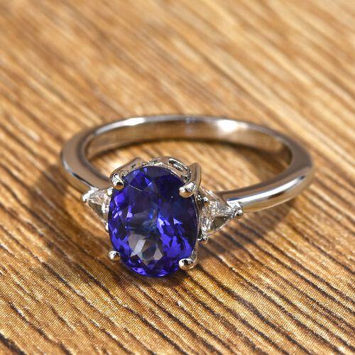 RHAPSODY 950 Platinum AAAA Tanzanite and Diamond Ring  2.15 Ct, Platinum wt. 4.50 Gms