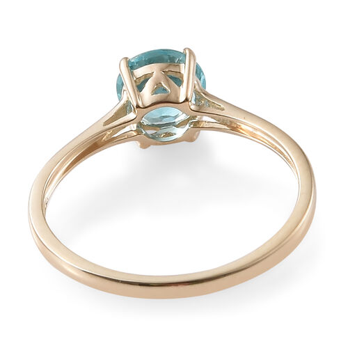9K Yellow Gold Blue Apatite (Rnd) Solitaire Ring 1.000 Ct.