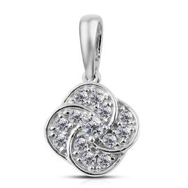 0.25 Ct Diamond Floral Pendant in 9K White Gold SGL Certified I3 GH