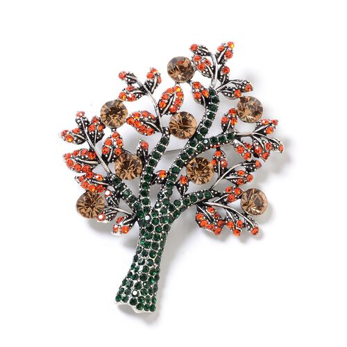Simulated Champagne Diamond (Rnd),Green and Orange Austrian Crystal Tree of Life Brooch in Silver Pl
