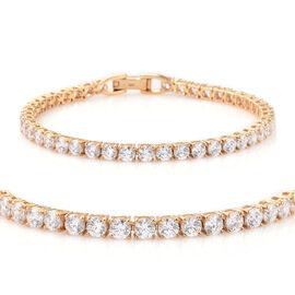 J Francis - 14K Gold Overlay Sterling Silver (Rnd) Tennis Bracelet (Size 8) Made with SWAROVSKI ZIRCONIA, Silver wt 10.78 Gms.
