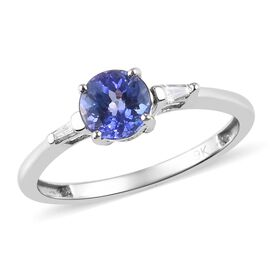 9K White Gold AA Tanzanite (Rnd), Diamond Ring 1.03 Ct.