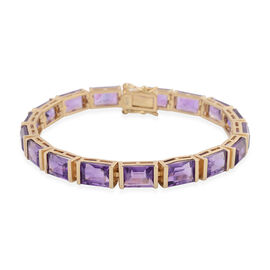 Amethyst (Bgt) Bracelet (Size 7) in Yellow Gold Overlay Sterling Silver 27.20 Ct, Silver wt 12.50 Gm