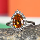 9K White Gold Citrine and Natural Cambodian Zircon Ring (Size T) 1.75 Ct.
