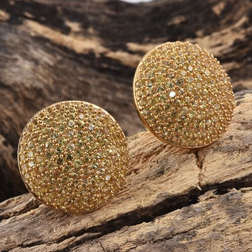 Chanthaburi Yellow Sapphire (Rnd) Stud Earrings (with Push Back) in 14K Gold Overlay Sterling Silver 5.250 Ct.No. Of Stones 250 Pcs