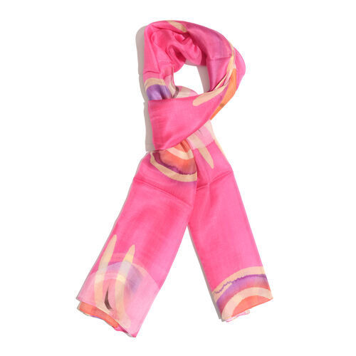 100% Mulberry Silk Hot Pink, Purple and Multi Colour Handscreen Printed Scarf (Size 180x50 Cm)