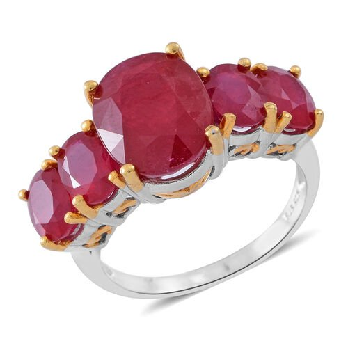 African Ruby (Ovl 6.75 Ct) 5 Stone Ring in Rhodium and 14K Gold Overlay Sterling Silver 11.500 Ct.