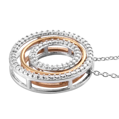 Designer Inspired- Diamond (Rnd) Concentric Circle Pendant With Chain (Size 18) in Platinum Overlay Sterling Silver