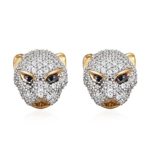 J Francis - Desginer Inspired- 14K Gold Overlay Sterling Silver (Rnd) Leopard Stud Earrings (with Pu