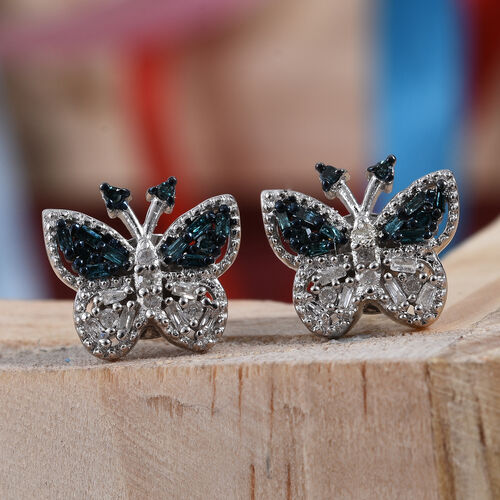 Blue and White Diamond (Rnd) Butterfly Earrings (with Push Back) in Platinum Overlay Sterling Silver 0.200 Ct.
