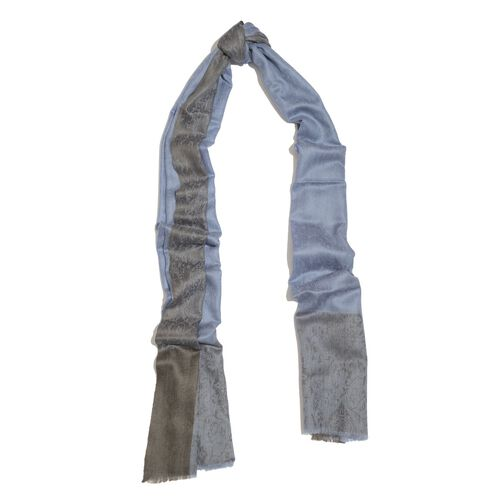 100% Cashmere Wool Blue Colour Self Pattern Scarf (Size 200x70 Cm)