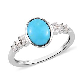 Arizona Sleeping Beauty Turquoise and Diamond Ring in Platinum Overlay Sterling Silver 1.25 Ct.