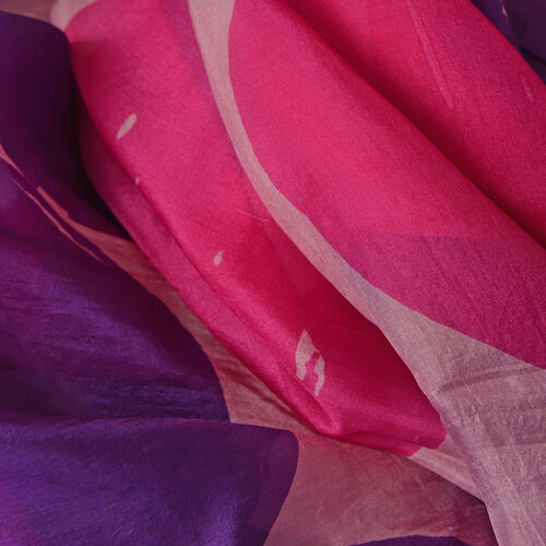 100% Mulberry Silk Mauve, Pink and Purple Colour Handscreen Printed Kaftan (Free Size)