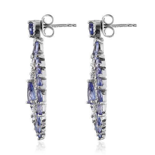 Tanzanite and Natural Cambodian Zircon Earrings in Platinum Overlay Sterling Silver 4.250 Ct. Silver wt 6.26 Gms.