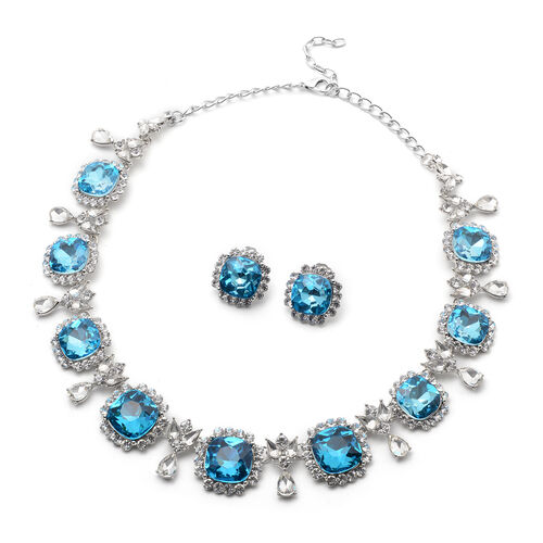 2 Piece Set - Simulated Aquamarine, Simulated Diamond and White Austrian Crystal Stud Earrings and A