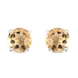 Citrine Stud Earrings (with Push Back) in Sterling Silver 1.50 Ct.
