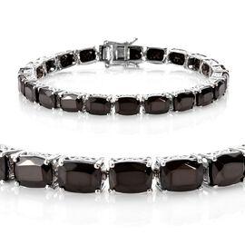 Elite Shungite (Cush) Bracelet (Size 7.5) in Platinum Overlay Sterling Silver 17.00 Ct, Silver wt 11