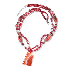 Red Agate (Bgt), Multi Colour Simulated Diamond and Freshwater White Pearl Beads Necklace (Size 30 with 2 Inch Extender) in Silver Tone