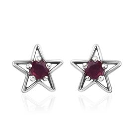 African Ruby (Rnd) Star Stud Earrings (with Push Back) in Platinum Overlay Sterling Silver 0.75 Ct.