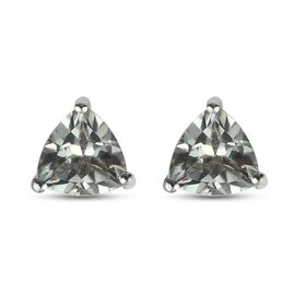 Prasiolite Solitaire Stud Push Post Earring in Platinum Overlay Sterling Silver 1.87 ct  1.870  Ct.