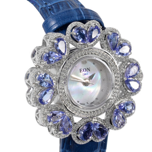 EON 1962 Swiss Movement Tanzanite and Diamond Water Resistant Watch with White Mother of Pearl Dial and Blue Leather Strap in Rhodium Overlay Sterling Silver 5.64 Ct, Silver wt 32.48 Gms