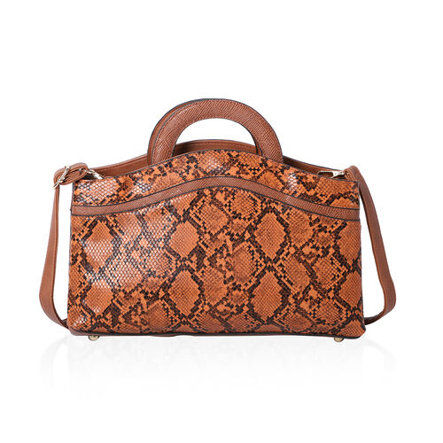 Snakeskin Print Satchel Bag (Size 36x24x8cm) - Tan