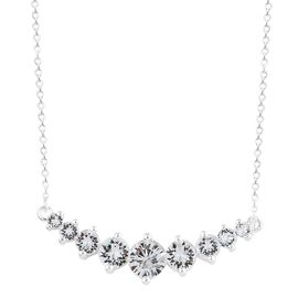 J Francis Crystal from Swarovski - White Crystal (Rnd) Necklace (Size 18) in Sterling Silver