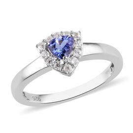 Tanzanite and Natural Cambodian Zircon Ring in Platinum Overlay Sterling Silver