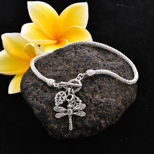 Royal Bali Collection - Sterling Silver Tulang Naga Bracelet (Size 7.5) with Leaves and Dragonfly Charm, Silver wt 9.41 Gms